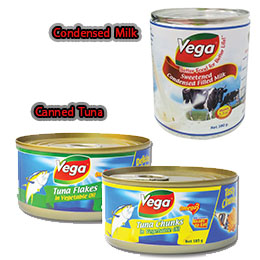Canned Tuna, Condensed Milk - Vega Brand